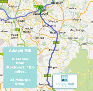 Adelphi Mill office space is close to stockport town centre